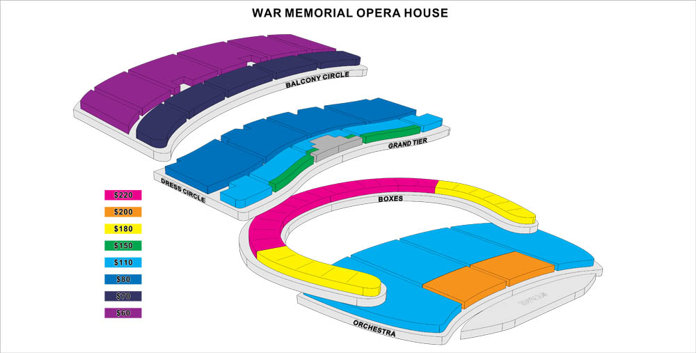 San Francisco CA – War Memorial Opera House Seating Plan