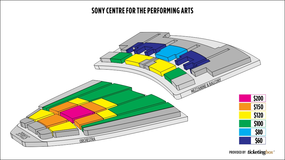 Shen Yun Toronto Sony Centre for the Performing Arts Seating Chart