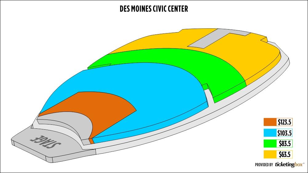 Des Moines Performing Arts Seating Map Viewkaka Co