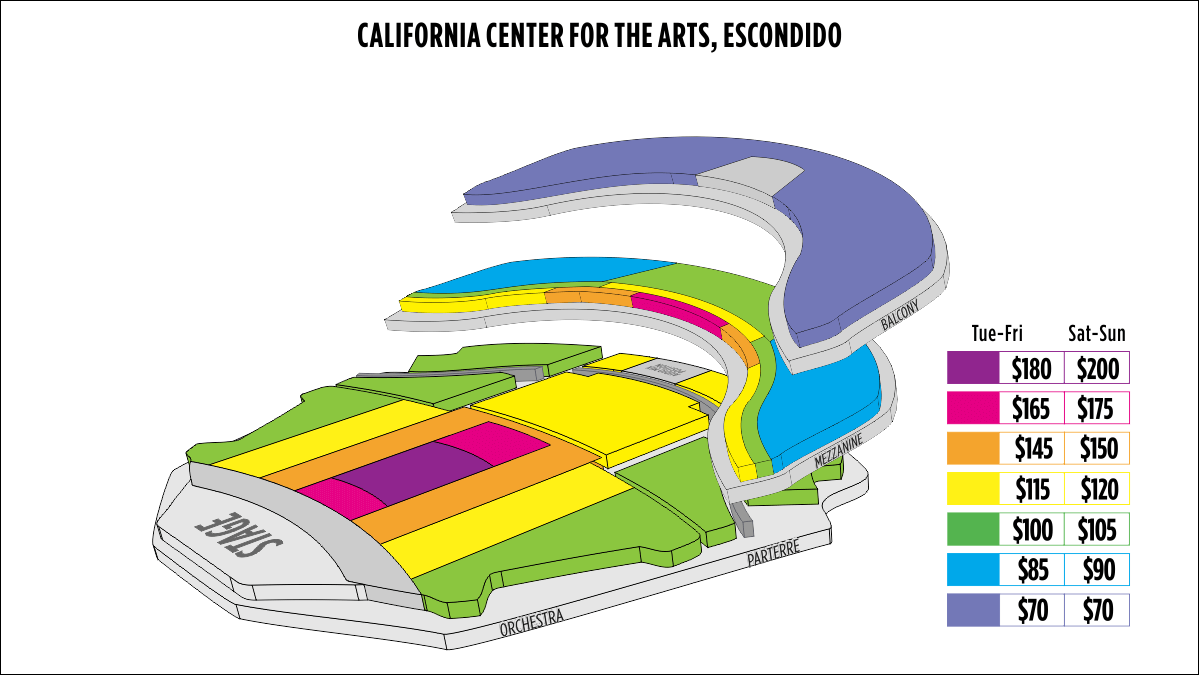Shen Yun Escondido (San Diego) California Center For The Arts, Escondido Seating Chart