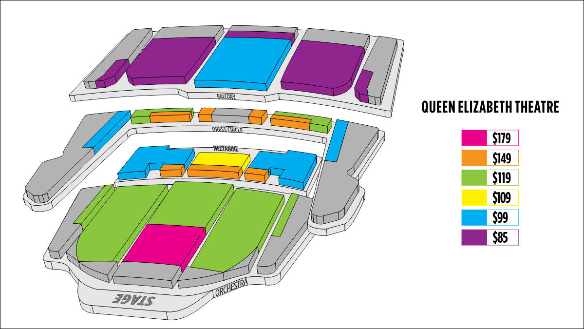 Shen Yun Vancouver 伊麗莎白女皇劇院 Seating Chart