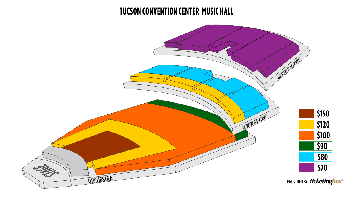 Shen Yun Tucson Tucson Convention Center - Music Hall Seating Chart