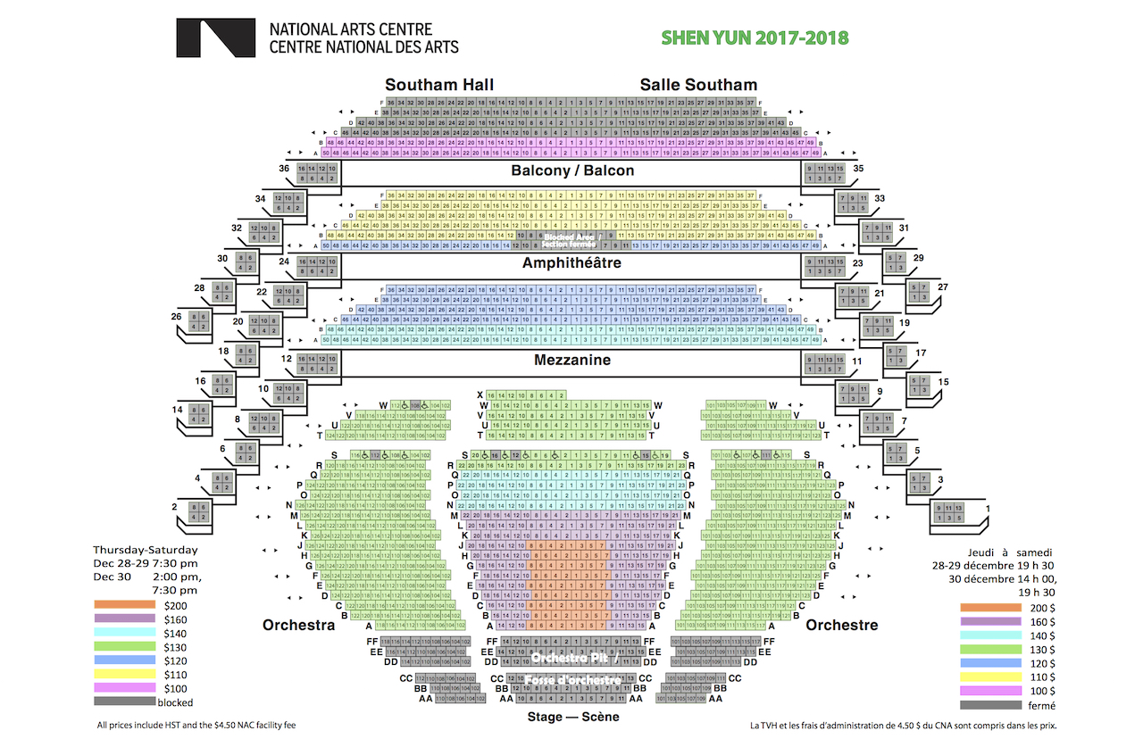 Shen Yun Ottawa National Arts Centre Seating Chart
