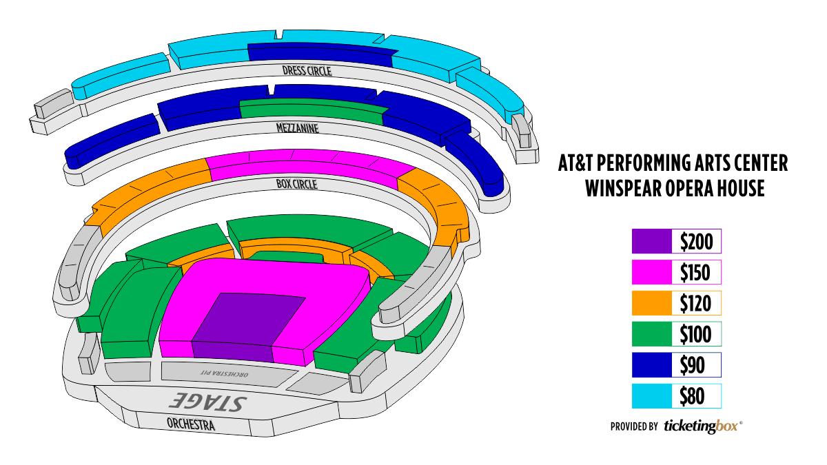 Dallas at t performing arts center winspear opera house mapa de asientos