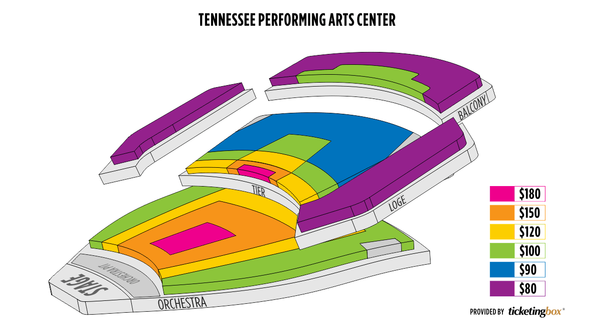 Nashville Tennessee Performing Arts Center - TPAC Mapa De Asientos