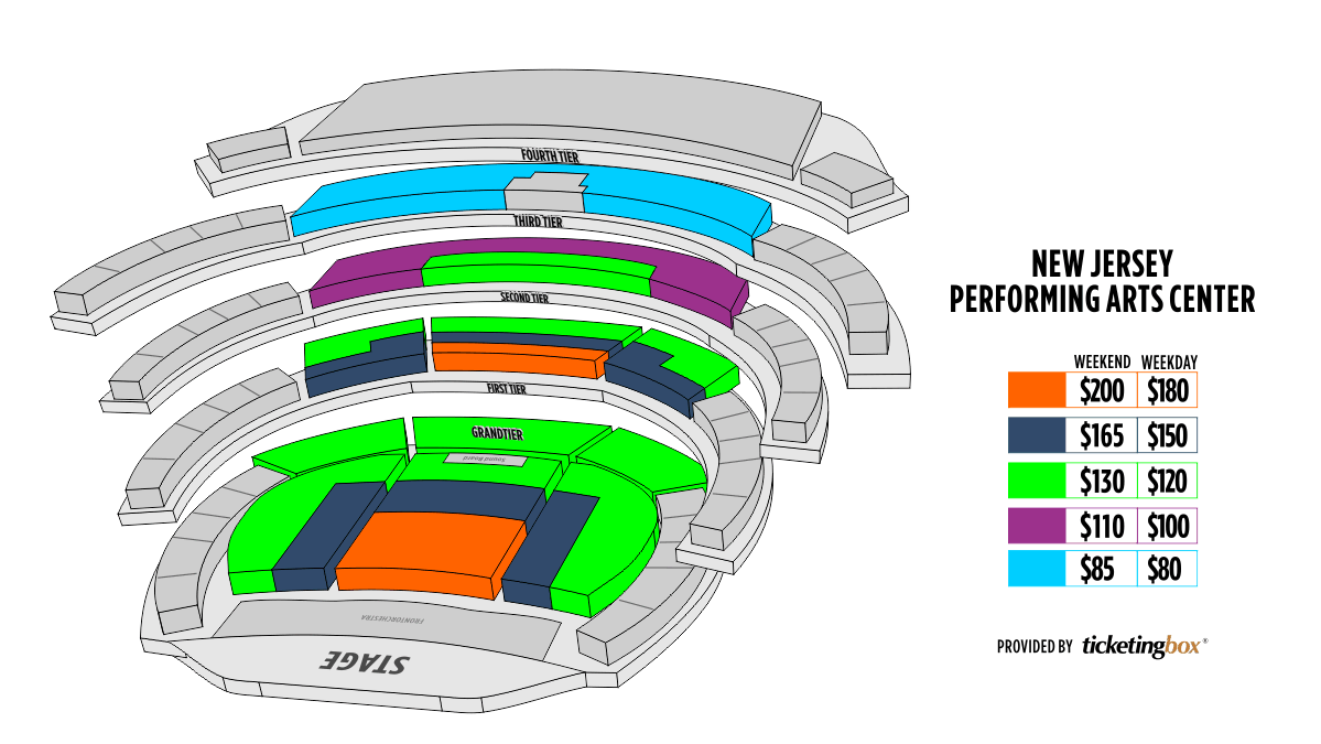 Newark New Jersey Performing Arts center Mapa De Asientos