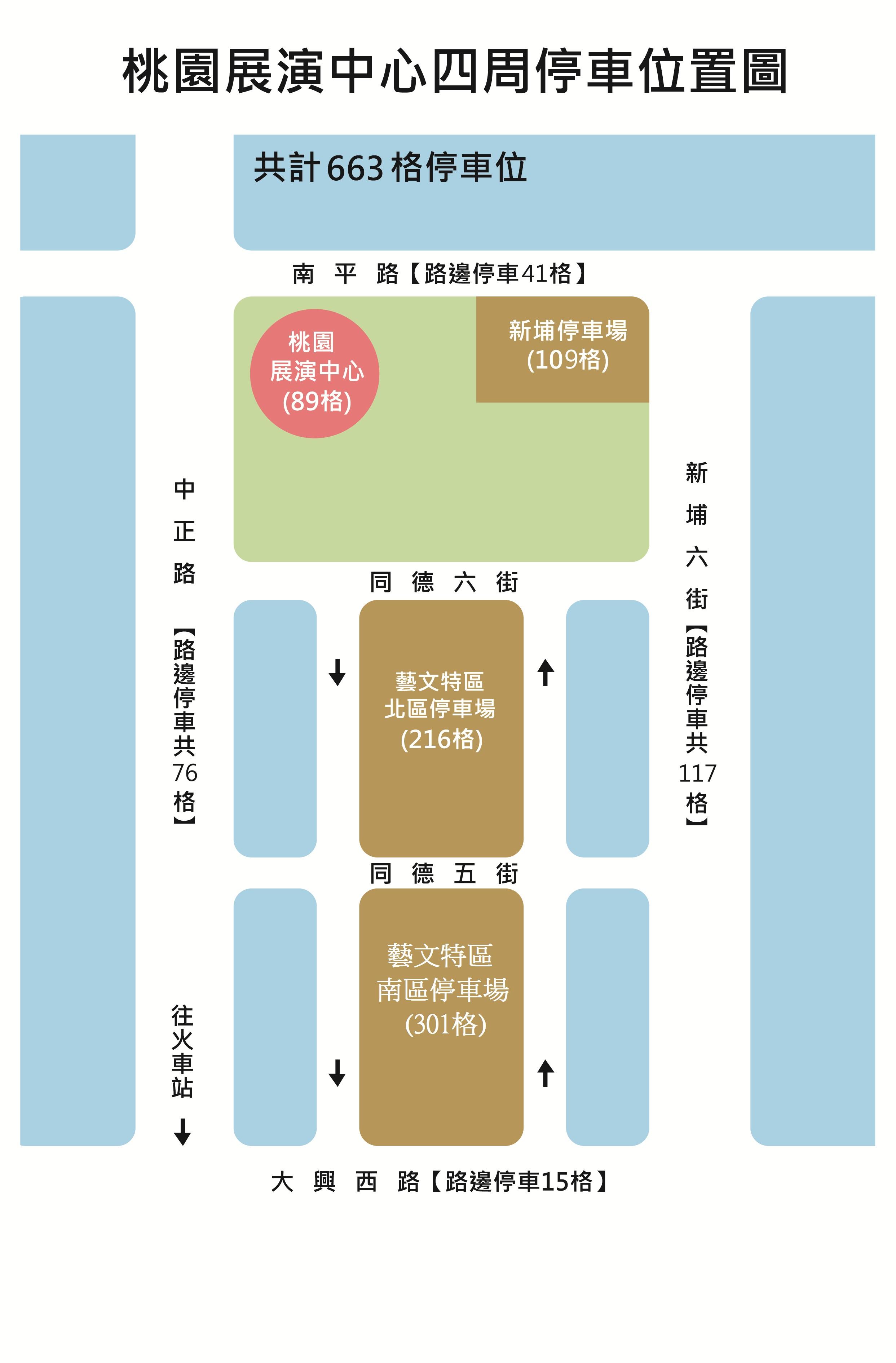 Taoyuan Parking 展演中心周邊停車格一覽表