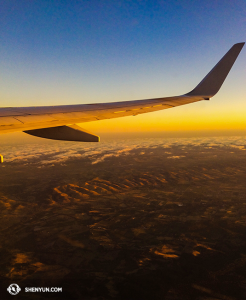 …just in time to catch the sunset on the way to Auckland. (photo by dancer Lily Wang)