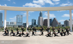 On the last day of performances in Texas, Shen Yun Touring Company dancers posed for this photo outside of the Long Center for the Performing Arts in Austin. (photo by Helen Li)