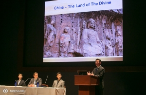 Meanwhile, in Washington DC, (from left) Principal Dancer Tony Xue, MC Leeshai Lemish, and Principal Dancer Rocky Liao were invited to speak at a panel marking 50 years since the start of the Cultural Revolution in China. The panel discussed the destruction of traditional Chinese culture and its revival by Shen Yun. TV anchor Xiang Dong (right) moderated the panel.