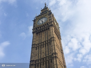 Back in Ben Chen's home country, projectionist Annie Li was admiring another Big Ben.