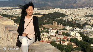 MC Julie Xu never had a chance to perform in Greece, and so she took her vacation in Athens.