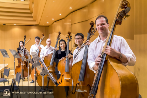 The entire double bass section, from left: Juexiao Zhang, Wei Liu, Yu Deng, Hui-Ching Chen, TK Kuo, and Juraj Kukan.