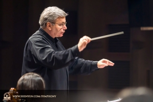 Conductor Milen Nachev leads the orchestra in rehearsal at Tainan's Cheng-Kung Auditorium, Taiwan.