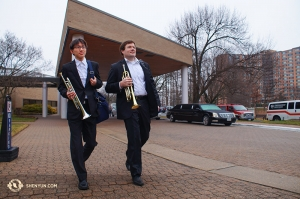 And in Washington, DC, Shen Yun International Company performed at the Kennedy Center. Trumpet players Sean Lin (left) and Eric Robins are raring to go. (Photo by Hirofumi Kobayashi)