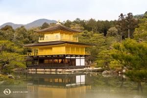 京都鹿苑寺,又名金閣寺,外牆以金箔貼就。是幕府將軍足利義滿建造。(攝影:小林建司)