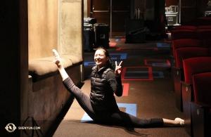 La danseuse Jinyan Jin s'échauffe. (Photo de la danseuse Kaidi Wu)