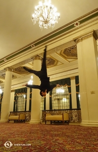 Across the country, in Massachusetts, dancer Alan Lee practices his layout-stepout. This is the lobby of the beautiful Hanover Theatre in Worcester, locally known as Woosta. (Photo by dancer Daren Chou)