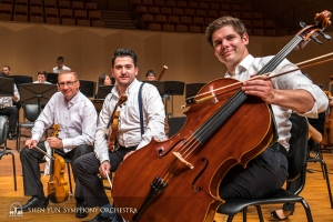 At Goyang, the second South Korean city on tour, principal violist Vardan Petrosyan, principal violinist Stepan Khalatyan, and principal cellist Jake Fowler pose before a performance.  (Photo by TK Kuo)