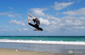 Dancer Hazel Yu leaping at the beach. (Photo by projectionist Regina Dong)