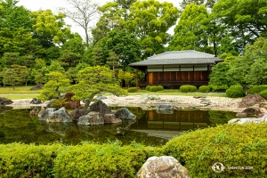 Rybník v krásné zahradě Ninomaru se nachází vedle paláce, který má stejné jméno. Jsou součástí hradu Nijo. (Fotil Andrew Fung)