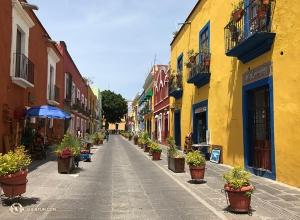 在墨西哥普埃布拉的老城,色彩鮮豔的建築物非常普遍,活潑的色彩與其文化相得益彰。(攝影:鋼琴伴奏謝佩蓉)