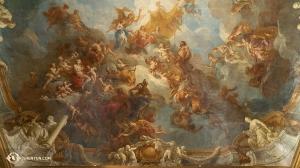 Zbliżenie na sufit wykonany w stylu barokowym w Wersalu. (Tiffany Yu)