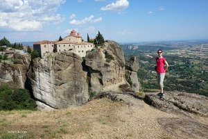Nearly 5,000 miles away in Meteora, Greece, dancer Daniella Wollensak poses with the monastery of St. Stephen. Now a nunnery, the building is accessible by a small bridge and its mountaintop location makes it seem suspended in midair.