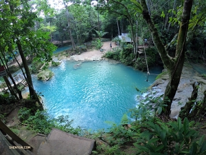 Welcome to the Cool Blue Hole (or Irie Blue Hole), nestled in the mountains above Ocho Rios. Serene waterfalls and cool swimming pools like this one make for a relaxing afternoon.