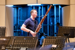 Principal bassoonist Aleksander Velichko gets a bit more practice before retreating backstage.