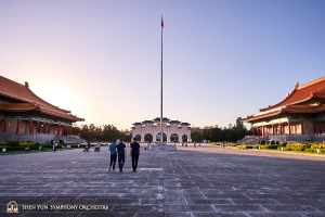 Liberty Square is flanked by major landmarks on three sides: the National Chiang Kai-shek Memorial Hall, National Theater, and National Concert Hall.