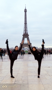 Dancers Kexin Li (left) and Olivia Zhang augment the Eiffel Tower. (Photo by Tiffany Yu)