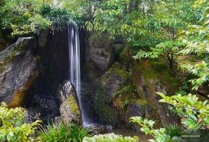 Тихий и живописный пейзаж вокруг Золотого павильона включает водопад Карп.