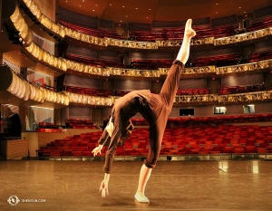 Dancer Sunni Zhou has a turn on the stage at the Kauffman Center for the Performing Arts in Kansas City, MO. (Photo by Megan Li)