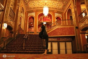 Shen Yun Global Company then travels to Providence, RI. Dancer Victoria Li holds a pose in the lobby of a theater that opened its doors as a movie palace in 1928—the Providence Performing Arts Center.