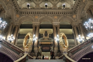The grand staircase of Paris' Palais Garnier opera house. (Photo by erhu soloist Linda Wang)