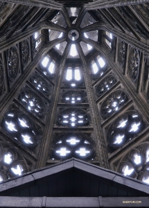 A view of one of the spires from inside the cathedral. (Photo by Tiffany Yu)