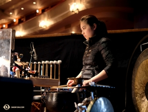 Percussionist Jasmine Jia practices. (Photo by Karen Chen)