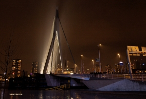 A close-up of Rotterdam's Erasmus bridge at night—it literally bridges the gap between the north and south parts of the city. (Photo by Nick Zhao)