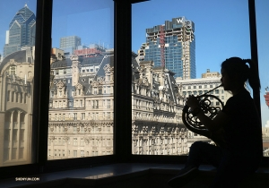 French horn player Chi-Chien Weng rehearsing before one of 25 performances in Philly. Check back later to see where we go in our next photo album! (Photo by Yu Lian)<p></p>