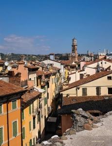 從圓形劇場的另一側,您可以看到一座有著800多年曆史的鐘塔——Torre dei Lamberti。它的鐘聲曾被用來召集全鎮會議和火災警報。(攝影:Felix Sun)