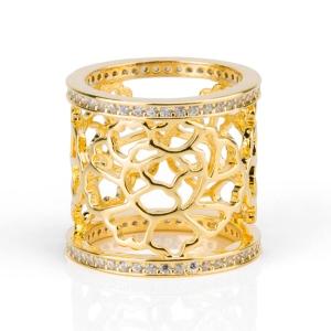 Tang Flower anello per foulard Gold