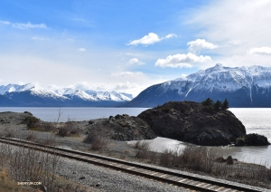 <p>Nous sommes ravis de notre trajet en bus panoramique le long des montagnes enneigées de l'Alaska ! (Photo de la danseuse Emily Pan)</p>