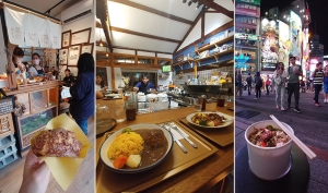 小さなお店で買ったシュークリーム。台湾の細道や裏道には店舗が立ち並ぶ。