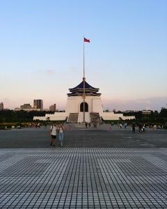At the center of Taiwan's capital, Taipei's Chiang Kai-Shek Memorial Hall at sunset.