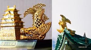 De twee gouden tijgervisdakornamenten op de top van het Nagoya kasteel, een mannelijke en een vrouwelijke, staan symbool voor het kasteel. Ze hebben elk de kop van een tijger en het lichaam van een karper. (Foto door Tony Zhao)