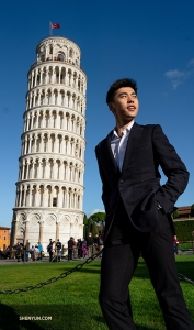 First up: Florence, Italy. Dancer Sam Pu visits the nearby Leaning Tower of Pisa before five sold out performances at the Teatro del Maggio Musicale Fiorentino. (Photo by Andrew Fung)
