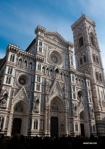 It's hard to look away from the elaborate facade of Florence's cathedral.  (Photo by Andrew Fung)