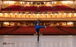 Meanwhile, dancer Ty Chen warms up before Shen Yun Global Company's first performance at the War Memorial Opera House in San Francisco.  (Photo by Zhiheng Li)