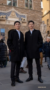 Dancers Hungwei Sun (left) and Eric Wang of Shen Yun Touring Company enjoy Florence, Italy between performances.   (Photo by dancer Andrew Fung)